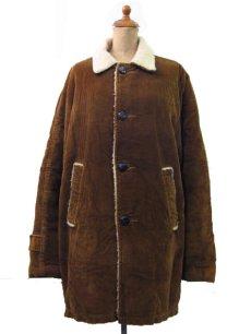画像1: 1970's Corduroy Boa Half Coat  BROWN size L  (表記 ---) (1)