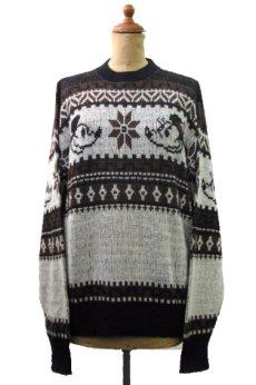 """画像1: 1970's """"Kennington"""" Jacquard Weave Pullover Sweater """"Mickey Mouse"""" size M - L (表記 LARGE) (1)"""
