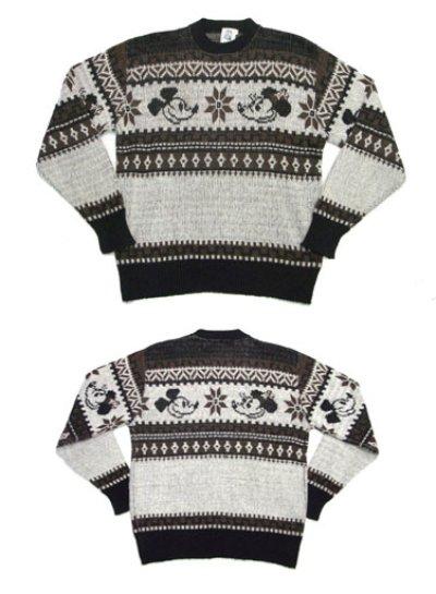 """画像1: 1970's """"Kennington"""" Jacquard Weave Pullover Sweater """"Mickey Mouse"""" size M - L (表記 LARGE)"""