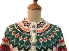 画像3: 1970's Nordic Pattern Hand Knit Cardigan size M 位 (表記 無し) (3)