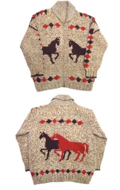 画像1: 1970's ~ Cowichan Sweater 馬 size L ~ XL 位 (表記 無し)