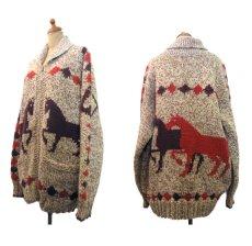 画像2: 1970's ~ Cowichan Sweater 馬 size L ~ XL 位 (表記 無し) (2)