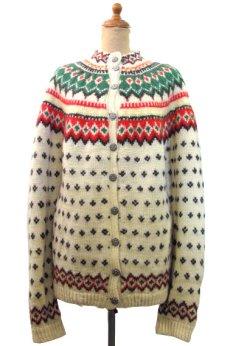 画像1: 1970's Nordic Pattern Hand Knit Cardigan size M 位 (表記 無し) (1)