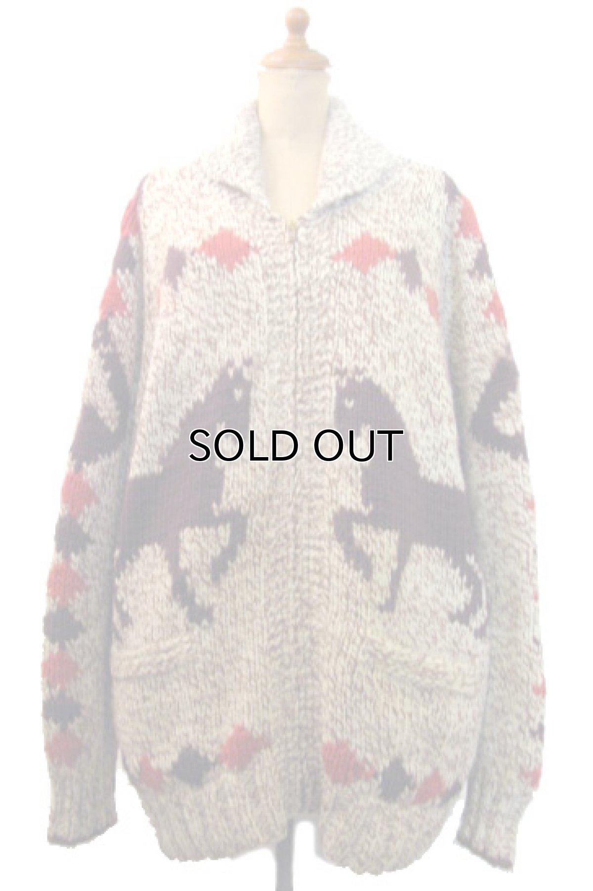 画像1: 1970's ~ Cowichan Sweater 馬 size L ~ XL 位 (表記 無し) (1)