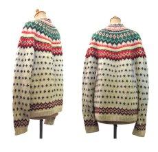 画像2: 1970's Nordic Pattern Hand Knit Cardigan size M 位 (表記 無し) (2)
