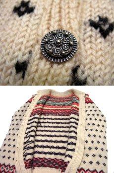 画像4: 1970's Nordic Pattern Hand Knit Cardigan size M 位 (表記 無し) (4)