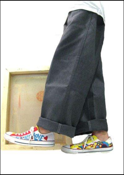 """画像1: BEN DAVIS  """"THE GORILLA CUT"""" Wide Work Pants HEATHER GREY size w 30 / w 32"""