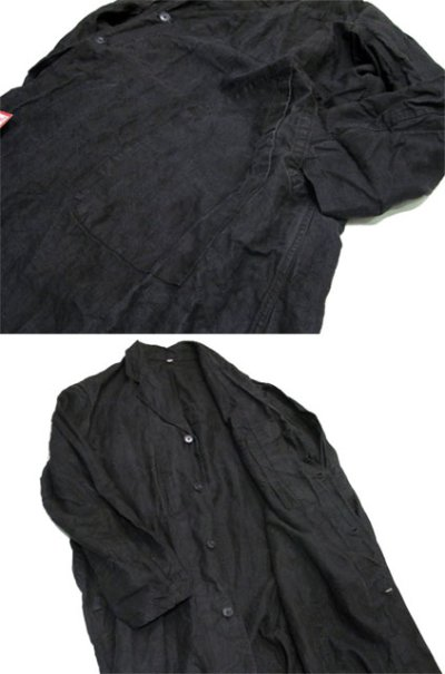 "画像1: 1950's French ""AU MOLINEL"" Black Linen Work Coat DEAD STOCK - one wash size L位 (表記 52)"