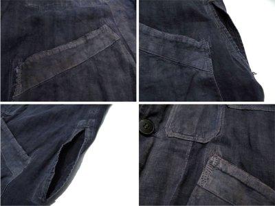 """画像3: ~1940's French """"ALA HOULETTE"""" Indigo Linen Work Coat size L位 (表記 なし)"""