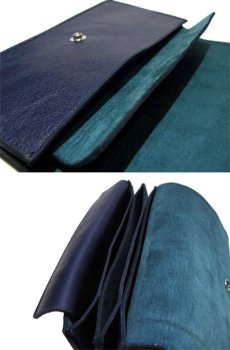 """画像5: """"JUTTA NEUMANN"""" Leather Wallet """"the Waiter's Wallet""""  color : NAVY / EMERALD 長財布 (5)"""
