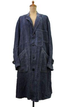"""画像1: ~1940's French """"ALA HOULETTE"""" Indigo Linen Work Coat size L位 (表記 なし) (1)"""