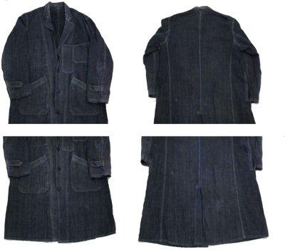 """画像1: ~1940's French """"ALA HOULETTE"""" Indigo Linen Work Coat size L位 (表記 なし)"""