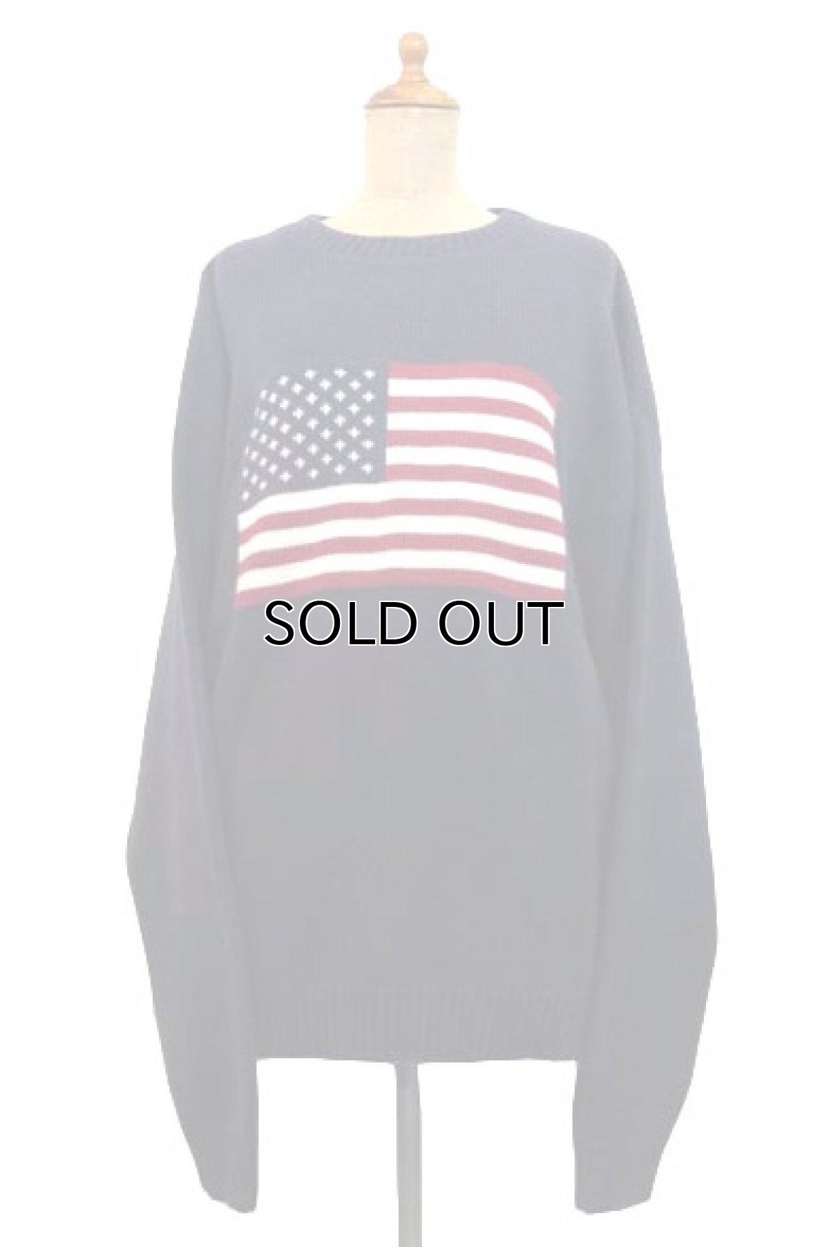"""画像1: 1990's~ """"FOCUS"""" American Flag Pullover Cotton Sweater  NAVY size L (表記 L) (1)"""
