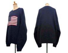 """画像2: 1990's~ """"FOCUS"""" American Flag Pullover Cotton Sweater  NAVY size L (表記 L) (2)"""