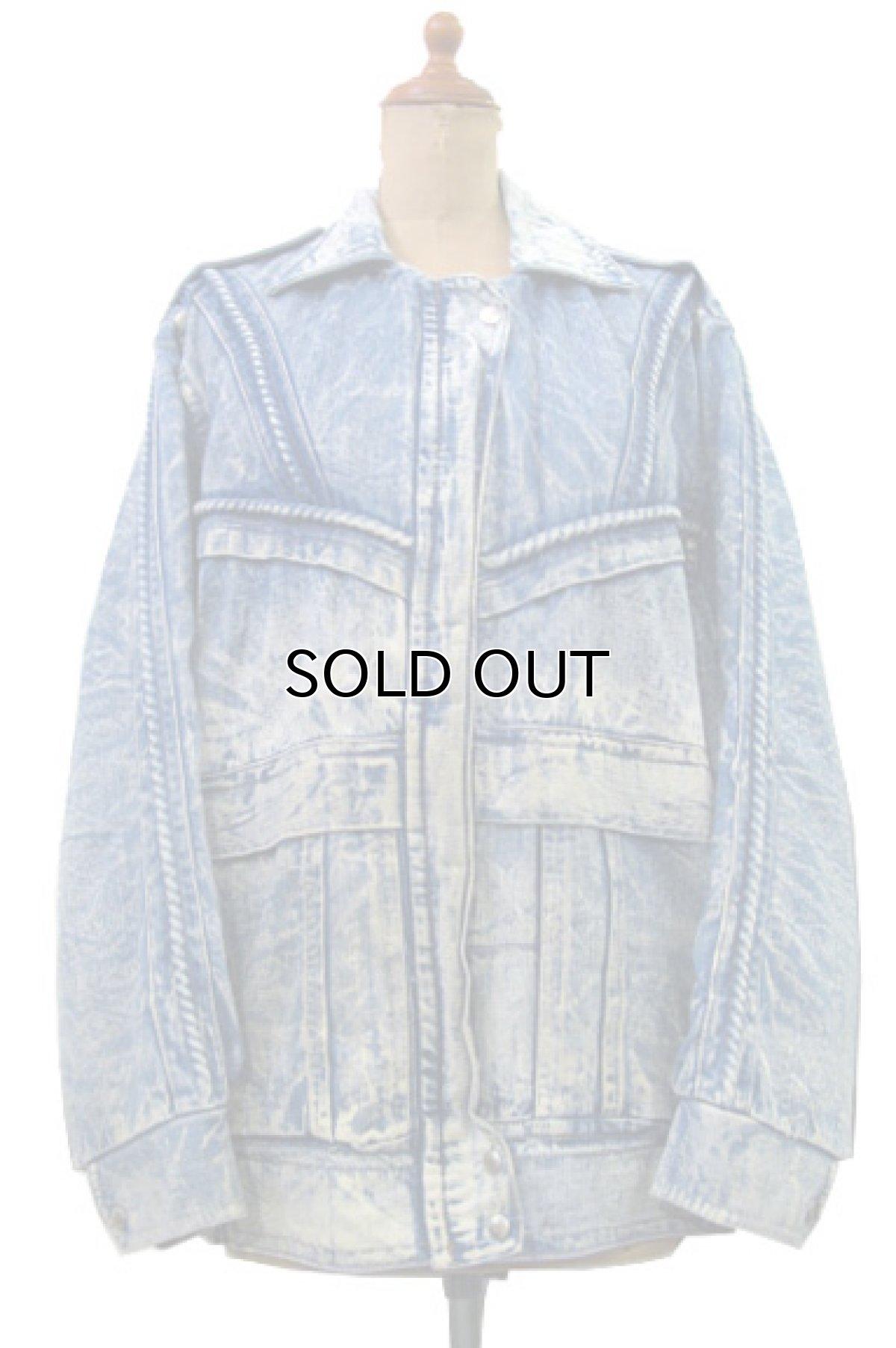 画像1: 1990's Europe Acid Wash Design Denim Jacket Blue Denim size M- L (表記 なし) (1)