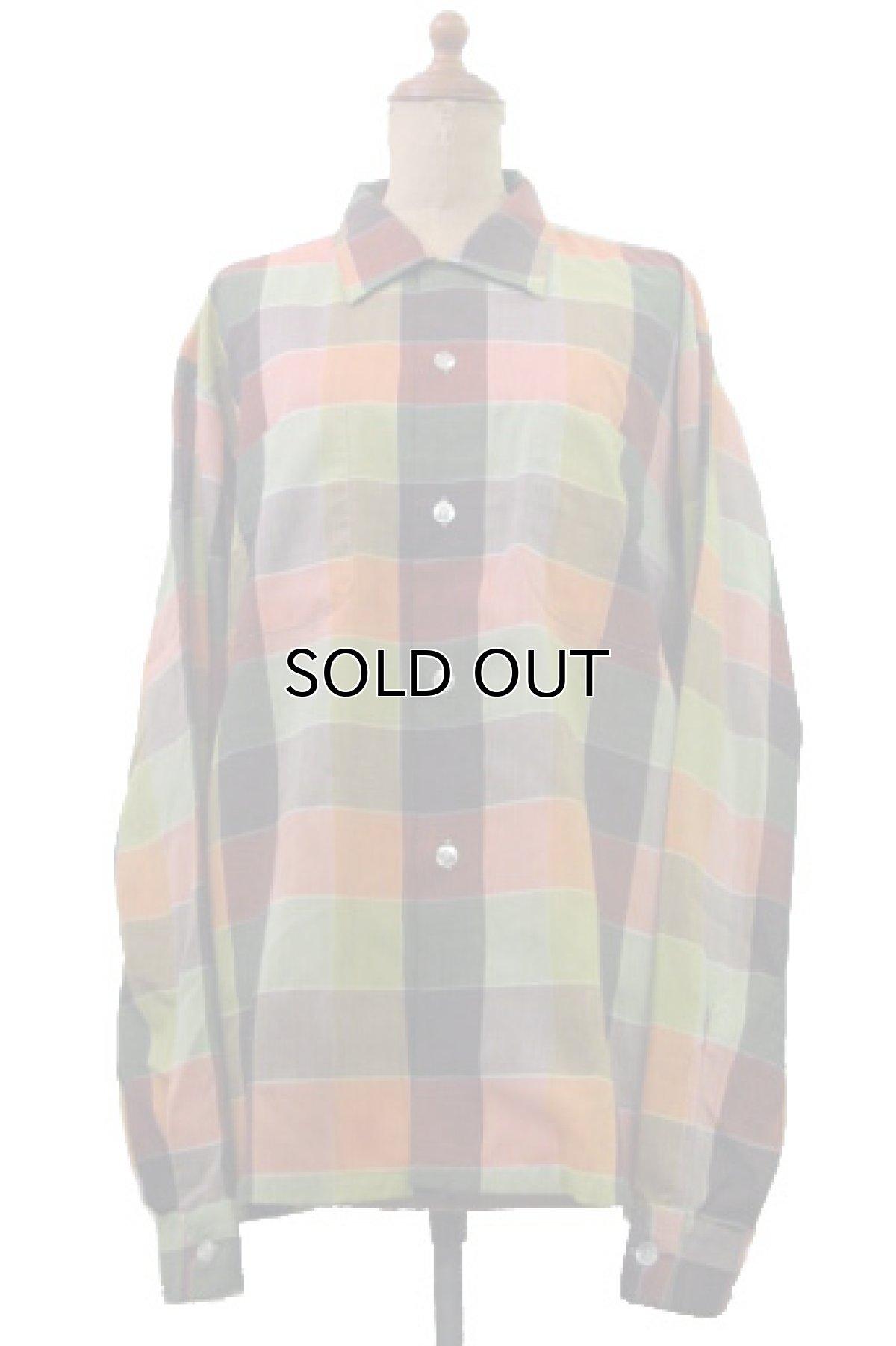 """画像1: 1960's """"Wrinkle Free"""" OLD L/S Shirts Check Pattern RED / GREEN 系 size L (表記 16-16 1/2 L) (1)"""