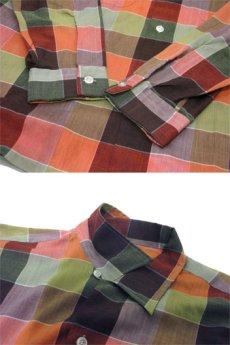 """画像4: 1960's """"Wrinkle Free"""" OLD L/S Shirts Check Pattern RED / GREEN 系 size L (表記 16-16 1/2 L) (4)"""