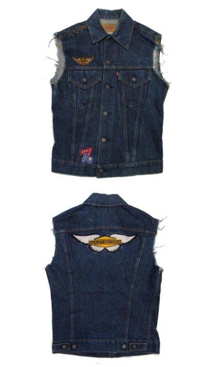 """画像1: 1970's """"Levi's"""" 70505e Cutoff Denim Vest Indigo Blue size S位  (表記 36)"""