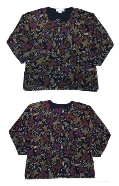 "画像1: 1990's~ ""CHRYSANTHEME"" Pullover Sweater (総柄) NAVY size L (表記 Women 3X)"