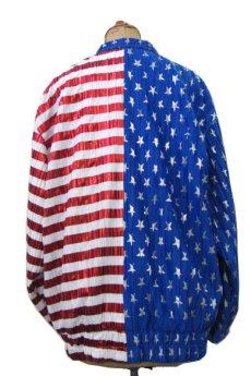 """画像2: 1990's """"Jacket by Design"""" Zip Up Jacket """"American Flag"""" WHITE / BLUE RED size M位 (表記 不明) (2)"""