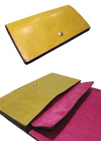 """画像1: """"JUTTA NEUMANN"""" Leather Wallet """"the Waiter's Wallet""""  color : Mustard / Pink 長財布"""