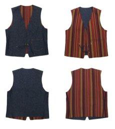 """画像3: 1970's """"LEVI'S"""" Reversible Vest Big """"E"""" DEADSTOCK DENIM / STRIPE size L  (表記 無し) (3)"""