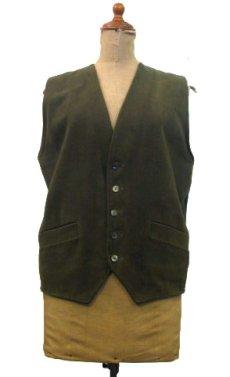 """画像1: 1930's """"Bloomingdales"""" Cotton / Wool Vest Olive Green size M (表記 M) (1)"""