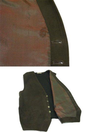 """画像2: 1930's """"Bloomingdales"""" Cotton / Wool Vest Olive Green size M (表記 M)"""