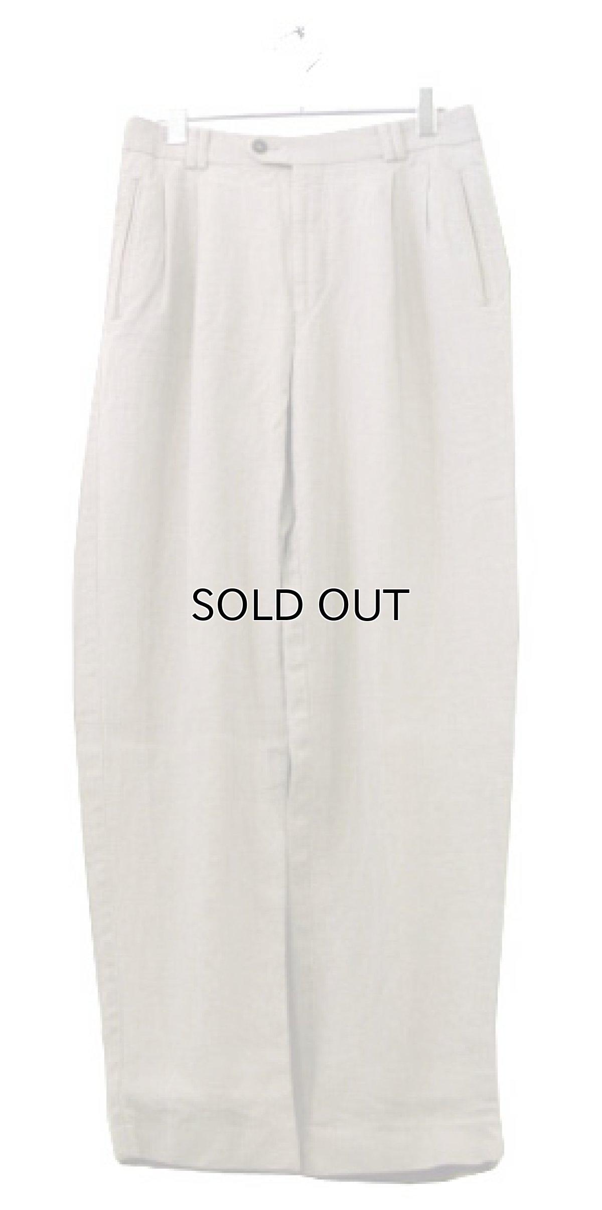 """画像1: 1980's~ """"Lindbergh"""" Two-Tuck Linen Trousers BEIGE size w 32 inch (1)"""