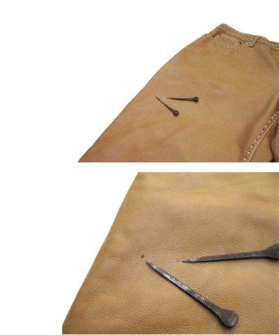 画像3: 1970's USA ELK HIDE Leather Pants -hand made & hand stitch- BEIGE size w 32 inch