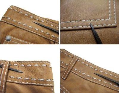 画像1: 1970's USA ELK HIDE Leather Pants -hand made & hand stitch- BEIGE size w 32 inch