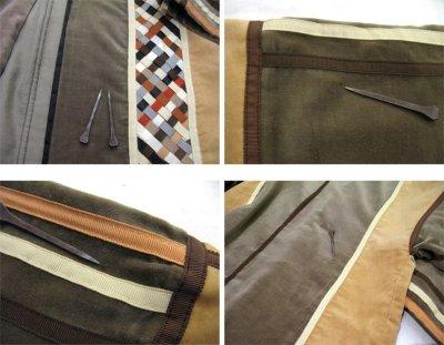 """画像1: 1970's """"THE FRENCH CLIQUE"""" Design Harf Sleeve Jacket BEIGE / OLIVE size S (表記 なし)"""