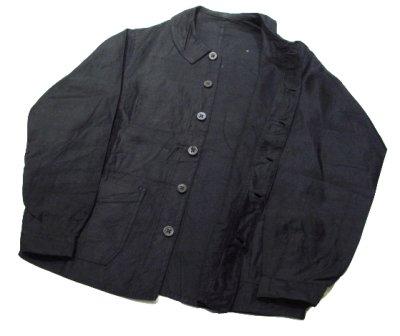 画像1: 1940's French Work Black Cotton Moleskin Jacket Light Weight Dead Stock - one wash size S (表記なし)