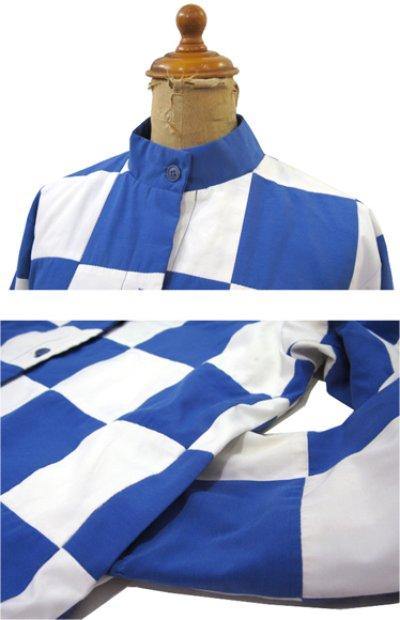 """画像3: 1980's """"MArguerite Rubel"""" Checker Flag Jacket BLUE / WHITE size S - M (表記 12)"""