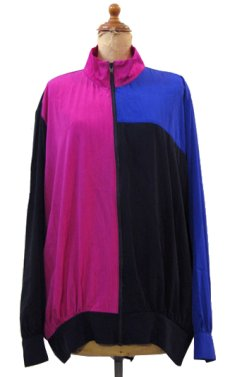 "画像1: 1990's ""S.G.Sport"" Crazy Pattern Zip Up Jacket Black / Pink / Purple size M - L (表記 L) (1)"