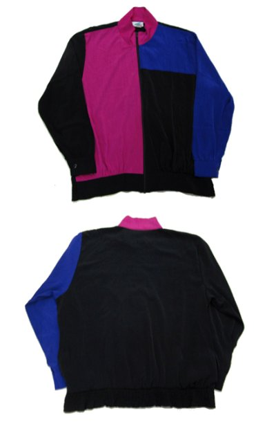 "画像1: 1990's ""S.G.Sport"" Crazy Pattern Zip Up Jacket Black / Pink / Purple size M - L (表記 L)"