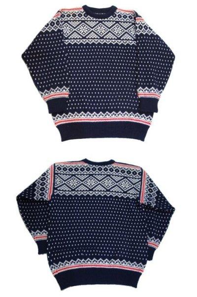 """画像1: 1970's~ """"DALE"""" Pullover Nordic Sweater NAVY size L (表記 L)"""