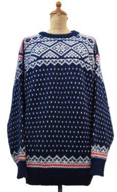 """画像1: 1970's~ """"DALE"""" Pullover Nordic Sweater NAVY size L (表記 L) (1)"""