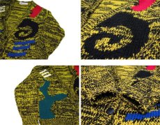 """画像5: 1980's~ """"EXPOSES"""" Design Acrylic Cardigan YELLOW / BLACK size L - XL (表記 L) (5)"""