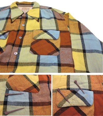 """画像1: ~1960's """"McGREGOR""""  L/S Wool Box Shirts YELLOW size L (表記 L)"""