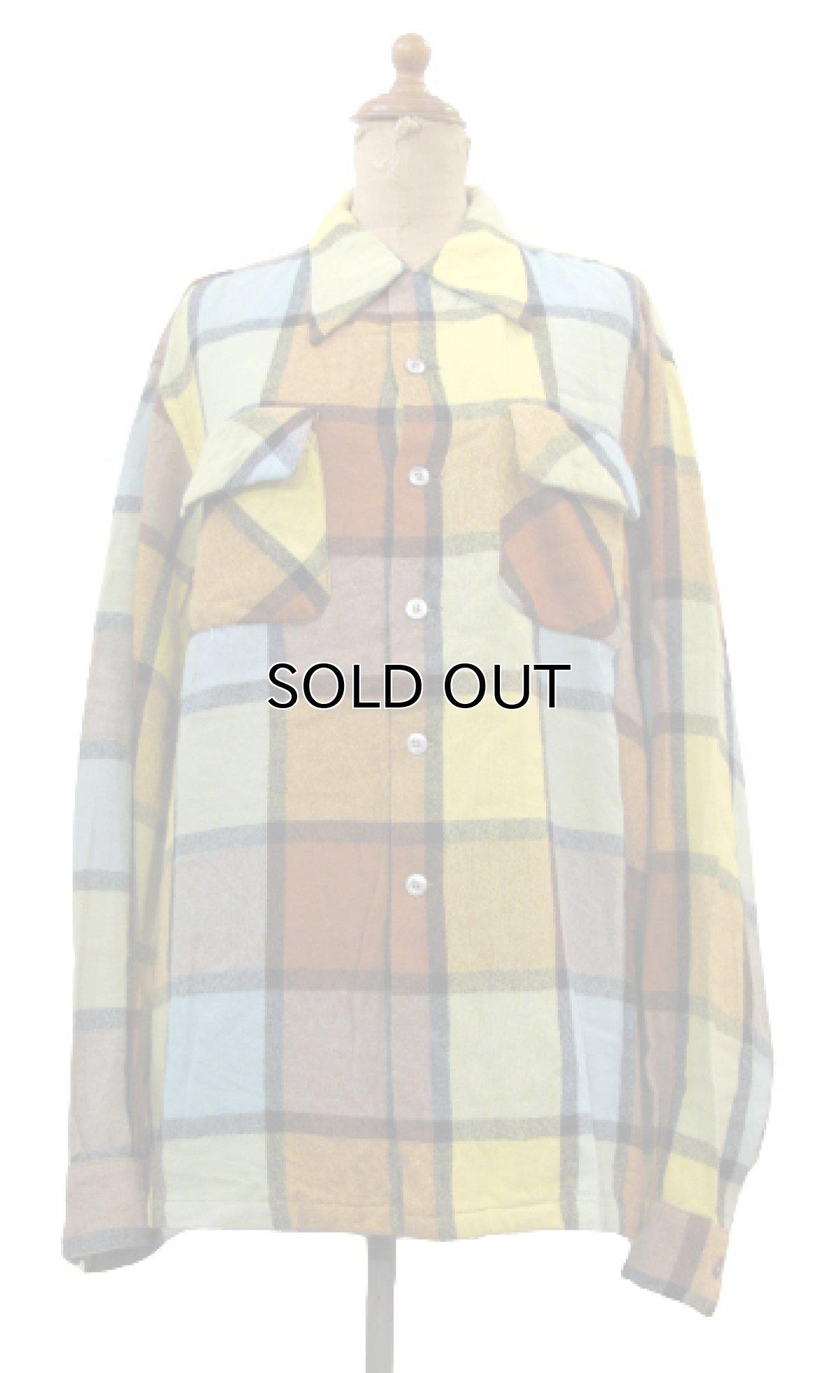 """画像1: ~1960's """"McGREGOR""""  L/S Wool Box Shirts YELLOW size L (表記 L) (1)"""