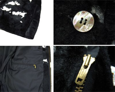 画像1: 1970's Cow Spot Pattern Box Blouson Black / White size S - M (表記 不明)