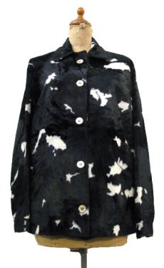 画像1: 1970's Cow Spot Pattern Box Blouson Black / White size S - M (表記 不明) (1)
