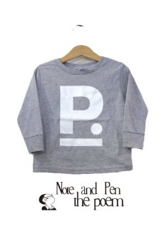 "画像1: ""ポエムのロンティー""  for KID'S  "" P "" GREY size  2 (80cm) / 3 (90cm~95cm) / 4 (95cm~100cm) (1)"