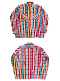 "画像4: 1960's ""Indian River"" Print Flannel Box Shirts Blue / Red / Yellow size M (表記 M 15-15 1/2) (4)"