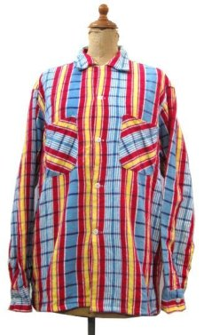 "画像1: 1960's ""Indian River"" Print Flannel Box Shirts Blue / Red / Yellow size M (表記 M 15-15 1/2) (1)"
