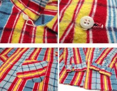 "画像5: 1960's ""Indian River"" Print Flannel Box Shirts Blue / Red / Yellow size M (表記 M 15-15 1/2) (5)"