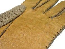 画像2: Leather / Cotton Knit Groves color : Yellow / Beige (2)