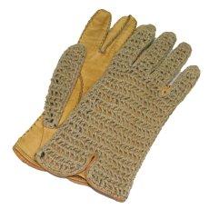 画像1: Leather / Cotton Knit Groves color : Yellow / Beige (1)