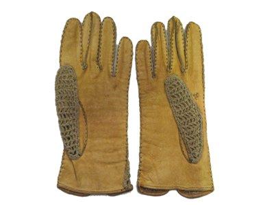 画像2: Leather / Cotton Knit Groves color : Yellow / Beige